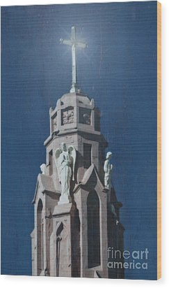 A Church Tower Wood Print