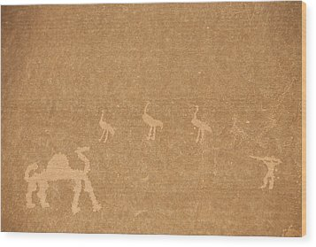 A Close View Of Ancient Petroglyphs Wood Print by Taylor S. Kennedy
