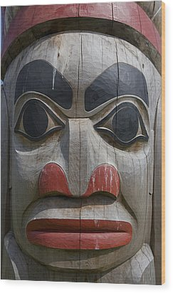 A Close View Of The Carvings Of A Totem Wood Print by Taylor S. Kennedy