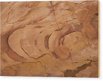 A Close View Sandstone Rocks Of Petra Wood Print by Taylor S. Kennedy