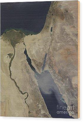 A Cloud Of Tan Dust From Saudi Arabia Wood Print by Stocktrek Images