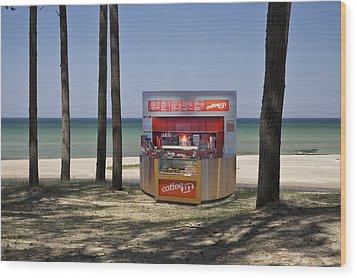 A Coffee Bar And Drinks Kiosk Wood Print by Jaak Nilson