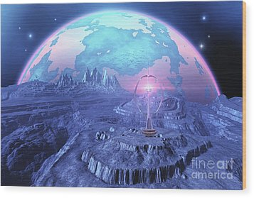 A Colony On An Alien Moon Wood Print by Corey Ford