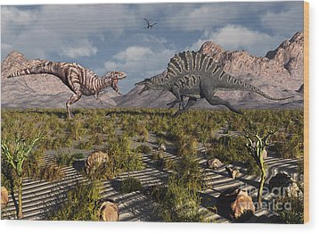 A Confrontation Between A T. Rex Wood Print by Mark Stevenson