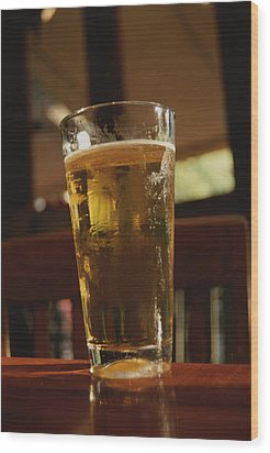 A Cool Glass Of Amber Beer Wood Print by Stephen St. John