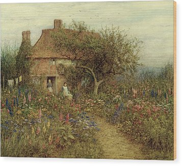A Cottage Near Brook Witley Surrey Wood Print by Helen Allingham