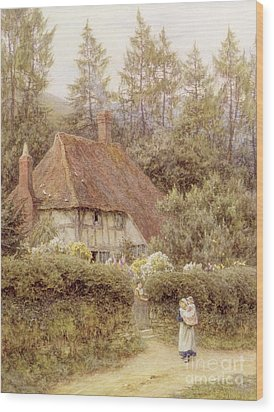 A Cottage Near Haslemere Wood Print by Helen Allingham