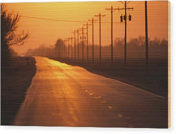 A Country Highway Fades Into The Sunset Wood Print by Joel Sartore