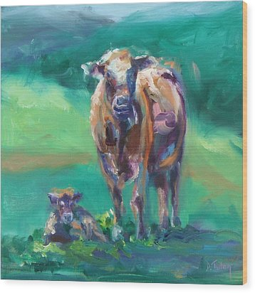 A Cow And Her Calf Wood Print by Donna Tuten