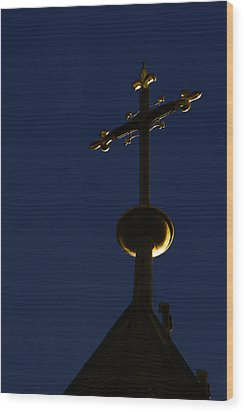 A Cross On St Vitus Cathedral Prague Wood Print by Christine Till