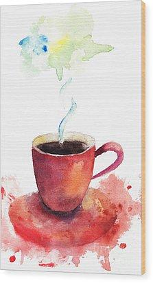 A Cup Of Coffee Wood Print by Regina Jershova