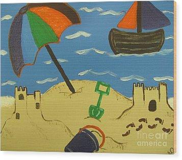 A Day At The Beach Wood Print by Eva  Dunham