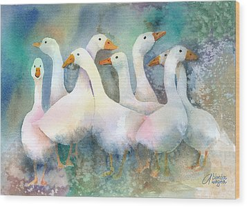 A Disorderly Group Of Geese Wood Print by Arline Wagner