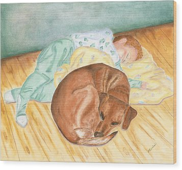 Wood Print featuring the painting A Dog And Her Boy by Arlene Crafton