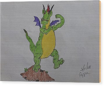 A Dragon Cartoon Character Wood Print by Swabby Soileau