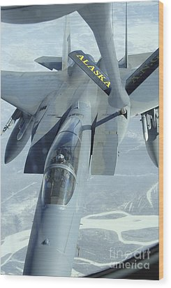 A F-15 Eagle Receives Fuel Wood Print by Stocktrek Images