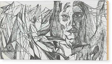 A Face - Sketch Wood Print by Robert Meszaros and Nick Ellena