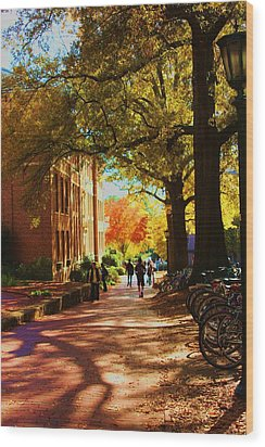 Wood Print featuring the photograph A Fall Day On Campus by Bob Whitt