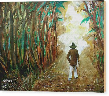 A Fall Walk In The Woods Wood Print