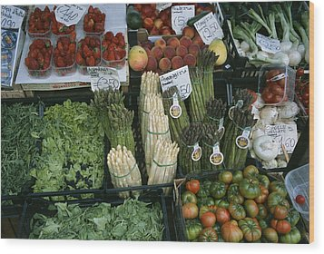 A Farmers Market Selling Vegetables Wood Print by Taylor S. Kennedy