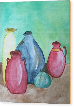 Wood Print featuring the painting A Few Good Pitchers by Alethea McKee