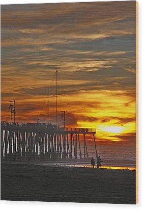 A Firey Sunset- Pismo Beach Wood Print by Gary Brandes