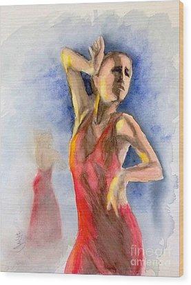 A Flamenco Dancer  2 Wood Print by Yoshiko Mishina