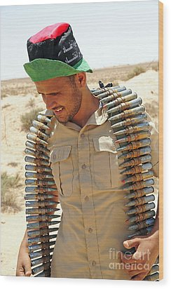 A Free Libyan Army Soldier With An Wood Print by Andrew Chittock