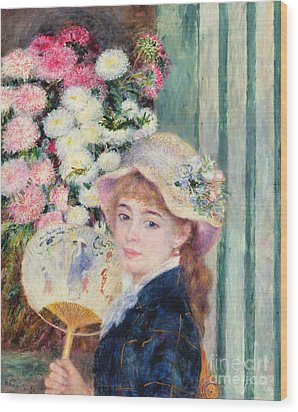 A French Girl With A Fan Wood Print by Pierre Auguste Renoir