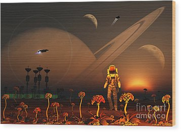 A Futuristic Outpost On The Moon Wood Print by Mark Stevenson
