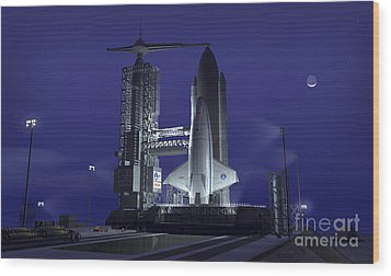 A Futuristic Space Shuttle Awaits Wood Print by Walter Myers