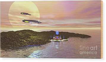 A Futuristic World On Another Planet Wood Print by Corey Ford