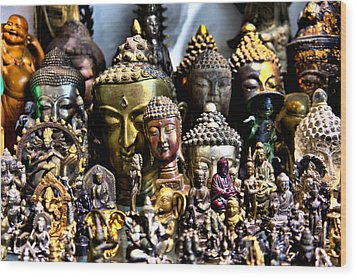 A Gathering Of Buddhas Wood Print by Edward Myers