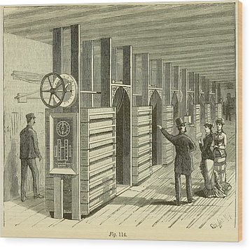 A Gentleman Points To The Regulating Wood Print by Everett