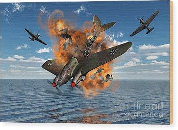 A German Heinkel Bomber Crashes Wood Print by Mark Stevenson