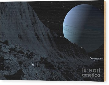 A Gigantic Scarp On The Surface Wood Print by Ron Miller