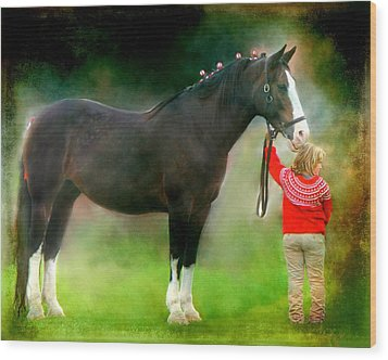 A Girl And Her Horse Wood Print by Davandra Cribbie