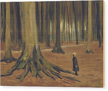 A Girl In A Wood Wood Print by Vincent van Gogh