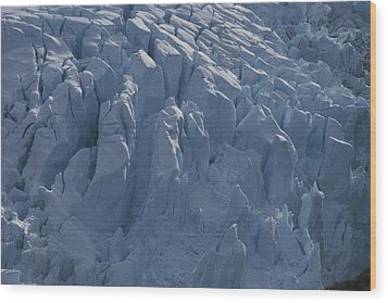 A Glacier Icefall From The Cordillera Wood Print by Gordon Wiltsie