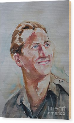 Wood Print featuring the painting A Great Man by Barbara McMahon