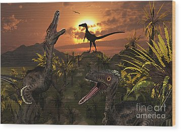 A Group Of Feathered Carnivorous Wood Print by Mark Stevenson