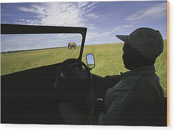 A Guide In A Jeep Observing An African Wood Print by Michael Melford