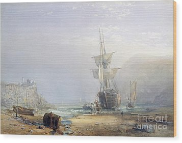 A Hazy Morning On The Coast Of Devon Wood Print by Samuel Phillips Jackson