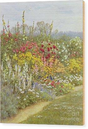 A Herbaceous Border Wood Print by Helen Allingham
