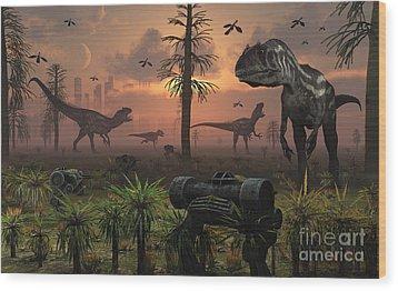 A Herd Of Allosaurus Dinosaur Cause Wood Print by Mark Stevenson