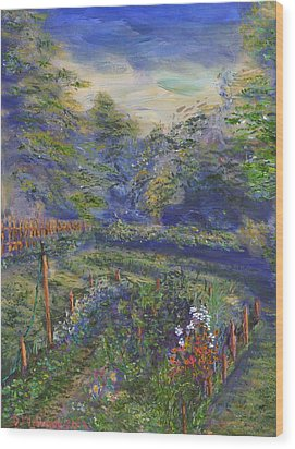 Wood Print featuring the painting A Holiday In August Outside A Bed And Breakfast by Denny Morreale