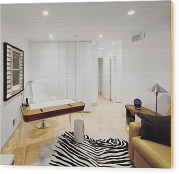 A Home Office. A Black And White Zebra Wood Print by Christian Scully