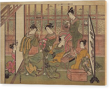A Japanese Brothel In Shinagawa, Shows Wood Print by Everett
