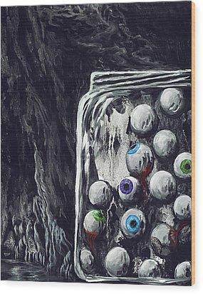 A Jar Of Eyeballs Wood Print