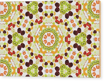 A Kaleidoscope Image Of Fresh Fruit Wood Print by Andrew Bret Wallis